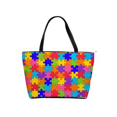 Funny Colorful Jigsaw Puzzle Shoulder Handbags