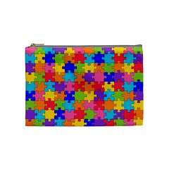 Funny Colorful Jigsaw Puzzle Cosmetic Bag (medium)