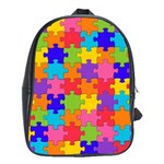 Funny Colorful Jigsaw Puzzle School Bags(Large)  Front