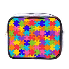 Funny Colorful Jigsaw Puzzle Mini Toiletries Bags