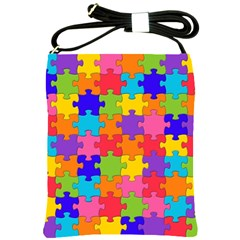 Funny Colorful Jigsaw Puzzle Shoulder Sling Bags