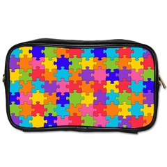 Funny Colorful Jigsaw Puzzle Toiletries Bags 2 Side