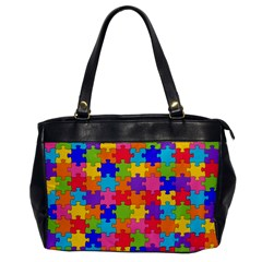 Funny Colorful Jigsaw Puzzle Office Handbags