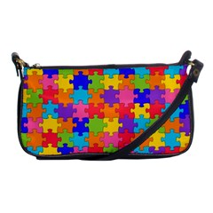 Funny Colorful Jigsaw Puzzle Shoulder Clutch Bags