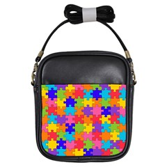 Funny Colorful Jigsaw Puzzle Girls Sling Bags