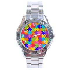 Funny Colorful Jigsaw Puzzle Stainless Steel Analogue Watch