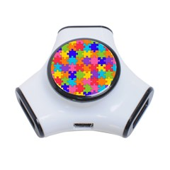 Funny Colorful Jigsaw Puzzle 3 Port Usb Hub