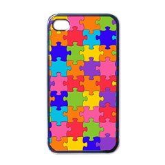 Funny Colorful Jigsaw Puzzle Apple Iphone 4 Case (black)