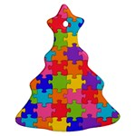 Funny Colorful Jigsaw Puzzle Ornament (Christmas Tree) Front