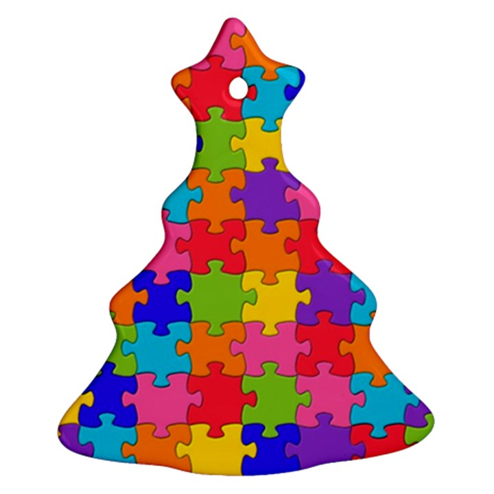 Funny Colorful Jigsaw Puzzle Ornament (Christmas Tree)