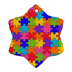 Funny Colorful Jigsaw Puzzle Snowflake Ornament (2 Side)