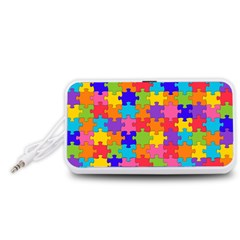 Funny Colorful Jigsaw Puzzle Portable Speaker (white)