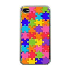 Funny Colorful Jigsaw Puzzle Apple Iphone 4 Case (clear)