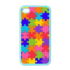 Funny Colorful Jigsaw Puzzle Apple Iphone 4 Case (color)