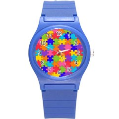 Funny Colorful Jigsaw Puzzle Round Plastic Sport Watch (s)