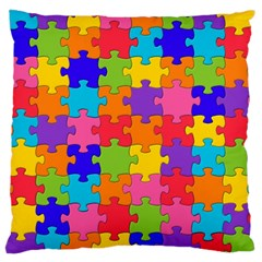 Funny Colorful Jigsaw Puzzle Large Cushion Case (One Side)