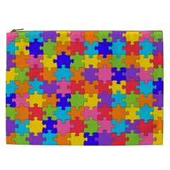 Funny Colorful Jigsaw Puzzle Cosmetic Bag (xxl)