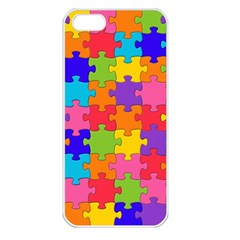 Funny Colorful Jigsaw Puzzle Apple Iphone 5 Seamless Case (white)