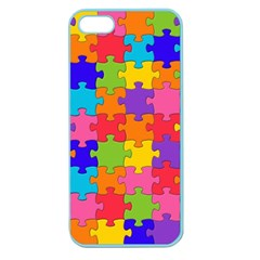 Funny Colorful Jigsaw Puzzle Apple Seamless Iphone 5 Case (color)