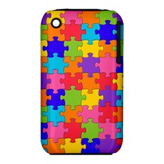 Funny Colorful Jigsaw Puzzle Apple Iphone 3g/3gs Hardshell Case (pc+silicone)