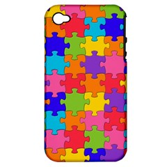 Funny Colorful Jigsaw Puzzle Apple Iphone 4/4s Hardshell Case (pc+silicone)