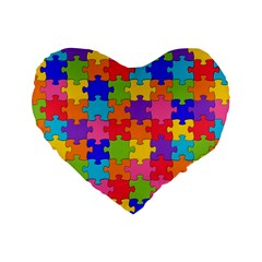 Funny Colorful Jigsaw Puzzle Standard 16  Premium Heart Shape Cushions