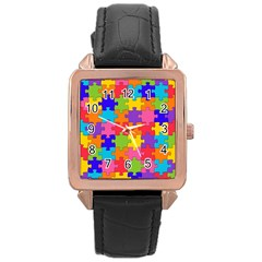 Funny Colorful Jigsaw Puzzle Rose Gold Leather Watch