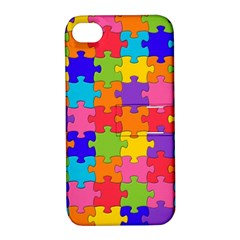 Funny Colorful Jigsaw Puzzle Apple Iphone 4/4s Hardshell Case With Stand