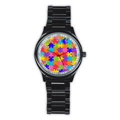 Funny Colorful Jigsaw Puzzle Stainless Steel Round Watch