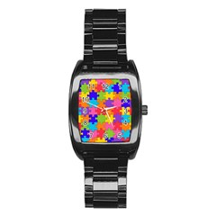 Funny Colorful Jigsaw Puzzle Stainless Steel Barrel Watch