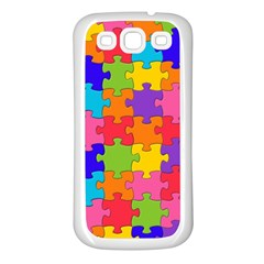 Funny Colorful Jigsaw Puzzle Samsung Galaxy S3 Back Case (white)