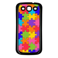 Funny Colorful Jigsaw Puzzle Samsung Galaxy S3 Back Case (black)