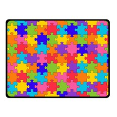 Funny Colorful Jigsaw Puzzle Double Sided Fleece Blanket (small)