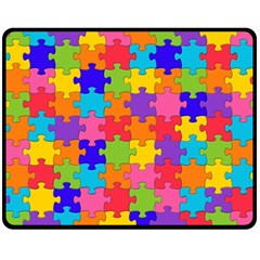Funny Colorful Jigsaw Puzzle Double Sided Fleece Blanket (medium)