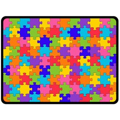 Funny Colorful Jigsaw Puzzle Double Sided Fleece Blanket (large)
