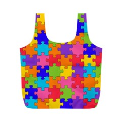 Funny Colorful Jigsaw Puzzle Full Print Recycle Bags (m)
