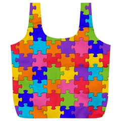 Funny Colorful Jigsaw Puzzle Full Print Recycle Bags (l)