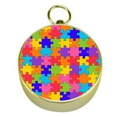 Funny Colorful Jigsaw Puzzle Gold Compasses