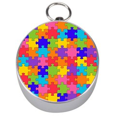 Funny Colorful Jigsaw Puzzle Silver Compasses