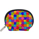 Funny Colorful Jigsaw Puzzle Accessory Pouches (Small)  Front