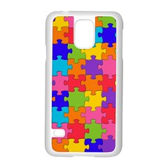 Funny Colorful Jigsaw Puzzle Samsung Galaxy S5 Case (white)
