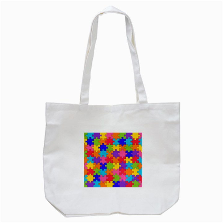Funny Colorful Jigsaw Puzzle Tote Bag (White)