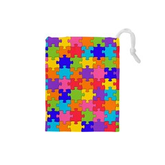 Funny Colorful Jigsaw Puzzle Drawstring Pouches (small)