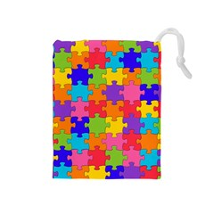Funny Colorful Jigsaw Puzzle Drawstring Pouches (medium)