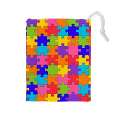 Funny Colorful Jigsaw Puzzle Drawstring Pouches (large)