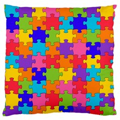 Funny Colorful Jigsaw Puzzle Large Flano Cushion Case (one Side)