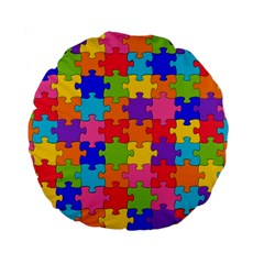 Funny Colorful Jigsaw Puzzle Standard 15  Premium Flano Round Cushions