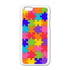Funny Colorful Jigsaw Puzzle Apple Iphone 6/6s White Enamel Case
