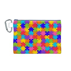 Funny Colorful Jigsaw Puzzle Canvas Cosmetic Bag (m)