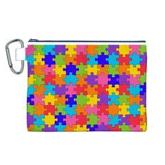 Funny Colorful Jigsaw Puzzle Canvas Cosmetic Bag (l)
